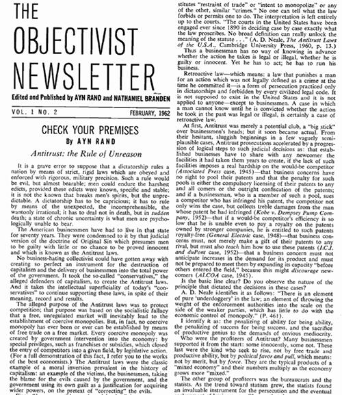 Trích đoạn của Ayn Rand viết trên tạp chí The Objectivist Newsletter vào 02/1962.
